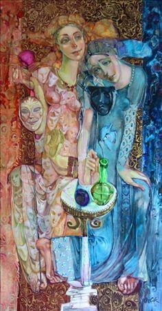 "Inna Orlik, ""Thalia and Melpomene""  Acrylic & Gold Leaf on Canvas  59"" x 32"" x 2"""""