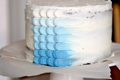 Blue Ombre Petal Cake by Hungry Housewife, via Flickr, with tutorial!