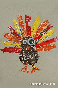Candy Wrapper Turkeys - what a fun use for all those candy wrappers from Halloween!