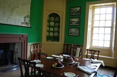 George Wythe House interior. Wythe was Thos Jefferson's law professor. I love, love this color green. Although the times were colonial--the lines of the furniture and interior are almost modernistic--