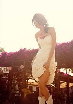 White cowboy boots with wedding dress!