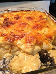 dinner, baked potatoes, scalloped potatoes, gluten free flour, scallop potato, side dish, casserole recipes, onion, salt