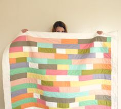 Modern Quilt - Colorful Stripy Couch Throw - Baby Blanket on Etsy, $274.54 AUD