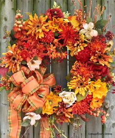 "Fall Wreath with mums, poppies and roses ""Orange Flame"" by Cottage Crafts Online"