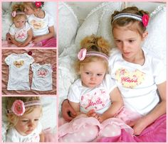 Big Sister Little Sister Set of TWO Personalized Embroidered Heart T-Shirts or Oneises