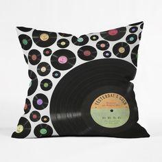 All Yesterday's Records Pillow Cover golden oldi, design homes, home accessories, accessori belle13, belle13 golden, pillow deni, oldi vinyl, throw pillows, deni design