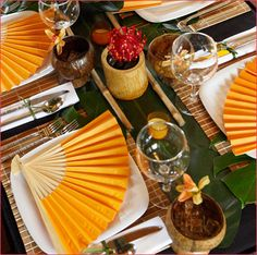 Asian theme table settings, hot summer days, summer parties, tropical party, dinner parties, outdoor parties, fan, tabl set, place mats