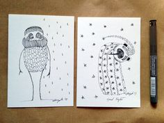 2 Hand Drawn Cards  Original Art Work  OOAK by ArtisticEnigmas, €15.00
