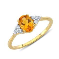 Igneous Oval Cut Citrine Diamond Gemstone Ring In 14K Yellow Gold    $331.00