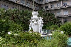 Fountain at the abandoned Imperial Hotel.