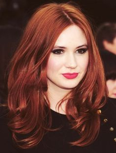 ponds, karen gillan, hairstyles, red hair, fall hair colors, shades of red, redhead, amy pond, brown hair