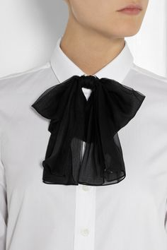 Saint Laurent | Silk-chiffon and leather bow collar