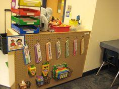 peg board, center organization, jungle safari, name writing, writing centers, write center, organization ideas, getting organized, writing station
