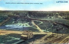 """Lufkin 1910/15, Looking North from the top of the town's water supply tower. Then called the """"Stand Pipe"""", it was located behind the fire station at Cotton (Calder) Square."""