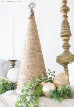 I need to make this!! Hemp Twine Christmas Tree | Mantel Decor