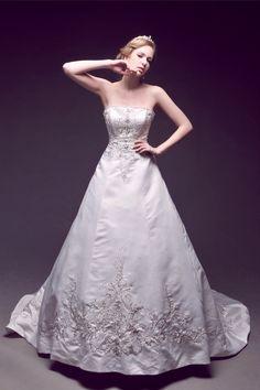 Strapless Embroidery wedding dressses, floors, satin, dresses, dress wedding, ebay, ivory, embroidery, strapless embroideri