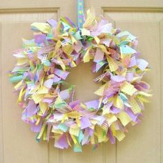 Easter Wreath  Easter Decoration  Fabric Wreath  by AWorkofHeartSA, $55.00