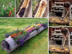 diy log planter garden ideas, flower planters, tree trunks, flower pots, flower beds, flowers garden, flower boxes, planter boxes, garden pots