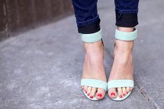 mint green, personal style, heel, tory burch, pump, sandal, ann taylor, shoe, pink peonies