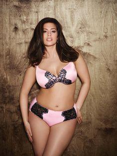 Ashley Graham. pink and black lingerie.