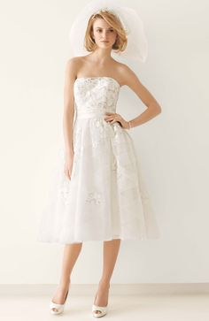Melissa Sweet Tea Length Gown with Diagonal Banding at Skirt Style MS251047 #davisdbridal #weddingdress