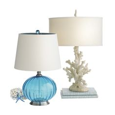 Pier 1 Turquoise Glass and Coral Lamps