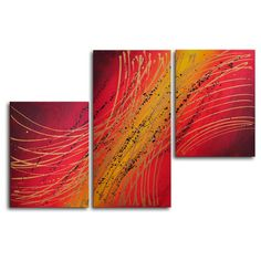 "My Art Outlet Hand Painted ""Spirograph in Gold"" 3-Piece Canvas Art Set"