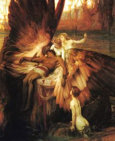 waterhouse. Icarus! Here's one I haven't seen. The focal point is so dynamic!! Those wings are stunning, while sending your eyes forcefully to the tragic figure in center stage. Brilliant. :)