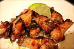 Baked Honey-Lime Chicken Wings --- I added Chipotle seasoning and let the chicken marinade first --- delicious!
