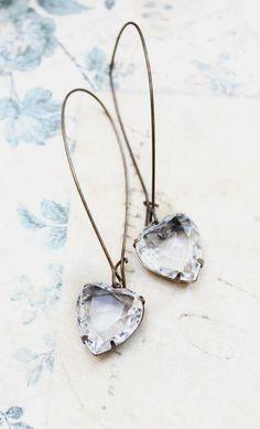 Heart Earrings Crystal Rhinestone Earrings