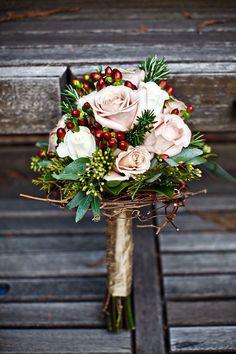 Rose & berry winter bouquet.