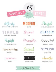 15 fabulous free fonts | At Home in Love