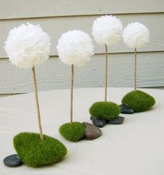Tissue Paper, Rock and Moss Centerpiece