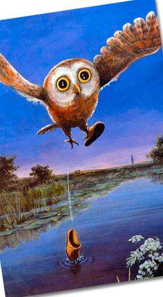 Owl dropping its shoe. Rudi Hurzlmeier