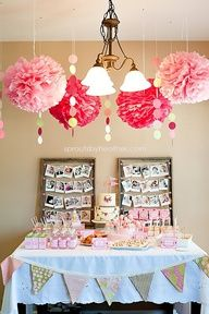 sweets table inspiration Pom Poms, Frame, Birthday Parties, Photo Displays, Sweet Tabl, Baby Pictures, First Birthdays, 1St Birthdays, Baby Showers
