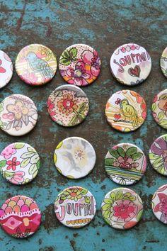 flairs ... we borrowed a button maker - Pam Garrison