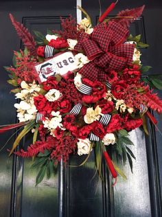 Large Elegant Luxury University of South Carolina Gamecocks Football Wreath Collegiate Team Houndstooth Ribbon College Wreath