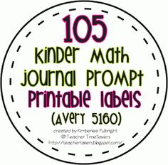 iTeach 5th: 105 Kindergarten Math Journal Prompt Labels