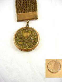 Antique memorial HAIR WORK locket watch chain by vintagesparkles, $355.00