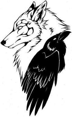 wolf and crow tattoo - Instead of the wolf looking down I'd want it to be howling at the moon