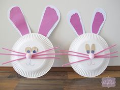 paper plate bunnies, trace kiddos feet for ears