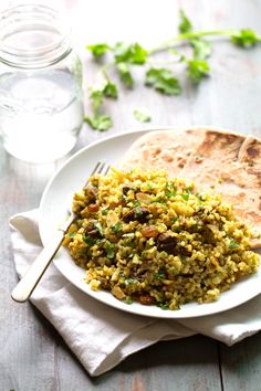 This Beef Biryani recipe includes toasted almonds, golden raisins, saucy beef, warm spices, and fragrant basmati rice. ❤ le sigh. 380 calori...