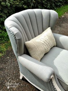 blue roof cabin: Channel Back Chair reupholstery - Before and After