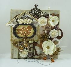 """Vintage shabby chic wall art - Home Sweet Home 6"""" x 6"""" altered canvas $43"""