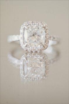 Cushion cut diamond + princess cut halo. Perfection.