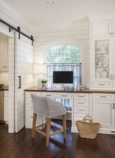 Advanced Renovations - Charlotte Remodeling Contractor kitchen desks, office spaces, desk space, barn doors, office nook, kitchen office, offic space, desk areas, home offices