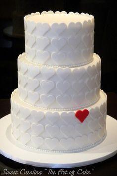 """Bolo casamento com decoracao de coracoes - Sweet Carolina """"The art of Cake"""""""