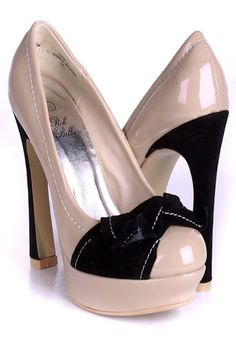 Bow Heels in Nude and Black