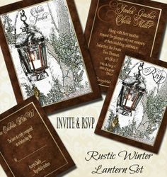 Beautiful Rustic Winter Lantern Wedding Invitation Set. Work with the artist to get the perfect wedding invitation.  #weddinginvitation #wedding #rusticwedding #lanternwedding