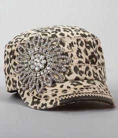 """Olive & Pique Animal Print Military Hat"""